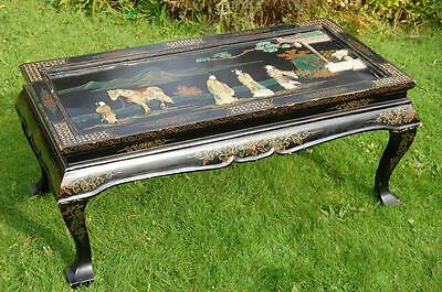 Lacquer Oriental Table ,with Hardstone Figures (pick up from Bath or Guildford)