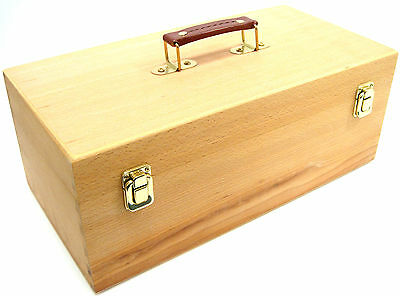 Wooden Storage Box Artist Caddy Box Empty Craft Box with Handle Travel Toolbox
