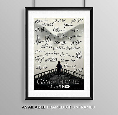 Game Of Thrones Cast Signed Autograph Print Poster Photo Tv Show Series Dvd