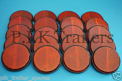 20 x RED Rear Self Adhesive Stick on 60mm Round Reflectors