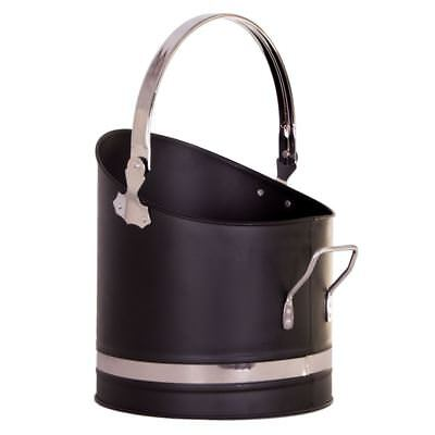 Coal Bucket Black Chrome 25 Scuttle Fireside Fireplace Storage By Home Discount