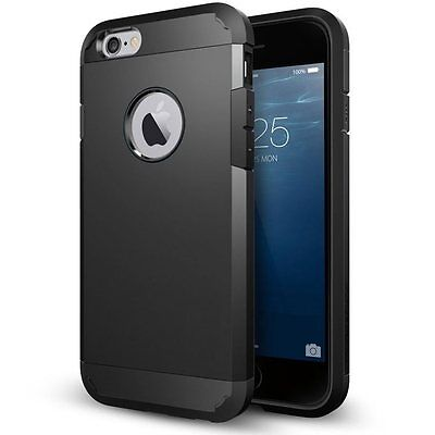 """Quality Case for iPhone 6 Plus 6S Plus 5.5"""" Armor Hybrid Shock Proof Cover Black"""