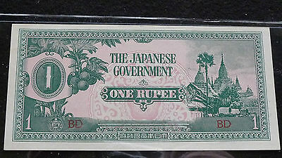 Wwii The Japanese Government One Rupee Uncirculated Condition  J-9-15