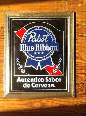 Pabst Blue Ribbon Beer Mirror Sign Spanish New Old Stock PBR Milwaukee WI