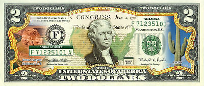 2 DOLLAR GENUINE LEGAL  COLORIZED  GIFT MONEY $2*GRAND CANYON NATIONAL PARK