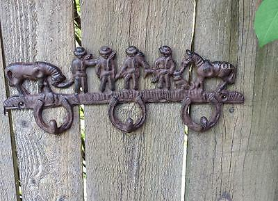 Rustic Country Western Cowboy Horse Wall Sculpture Statue Horseshoe Hook Hanger
