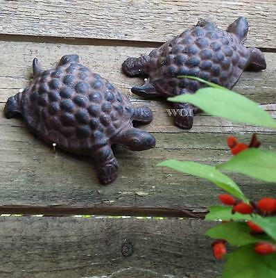 Lot of 2 Distressed Cast Iron Turtle Statue Garden Animal Flower Bed Yard Art