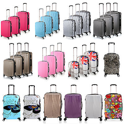 Hard Shell 4 Wheel Spinner Suitcase PC Luggage Trolley Case Cabin Carry On Hand