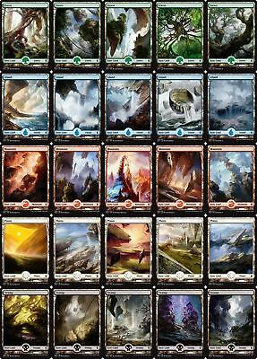 Battle for Zendikar 25 FULL ART Basic Land Set - MTG - 5 of each Type - diff art