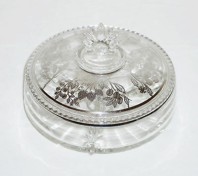 STERLING SILVER Glass DIVIDED Relish DISH Candy HORS D'OEUVRE Footed COVERED Vtg