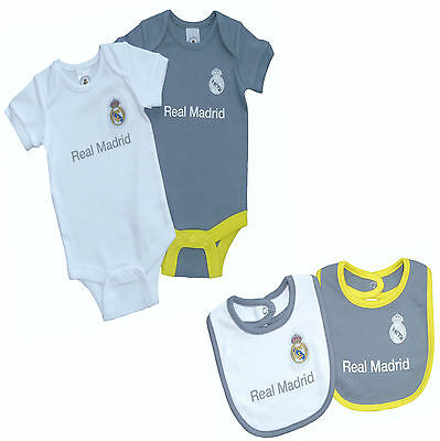 Real Madrid Fc Babies Kit Pram Suit Short Sleeve Rmcf Baby Grow Vest X 2