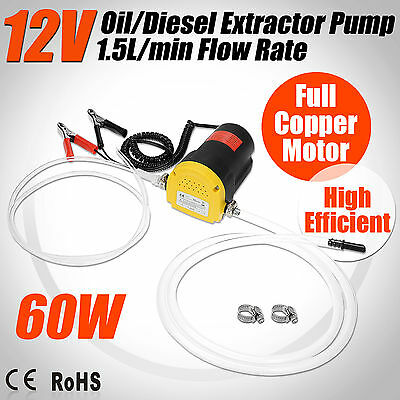 12V 60W Oil Diesel Fluid Transfer Extractor Pump Electric Siphon Car Motorbike