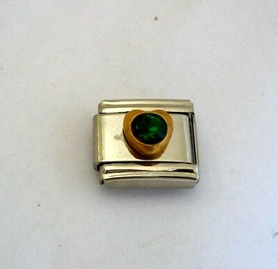 9mm Classic Size Italian Charm Small Heart Birthstone May Emerald