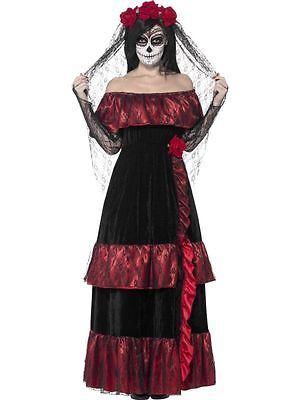 Halloween Adult Mexican Day Of The Dead Zombie Bride Ladies Fancy Dress Costume