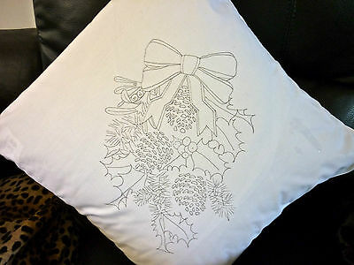 Christmas Wreath Freestyle Embroidery printed Cushion Cover  embroider CSO103