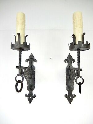 Pair Antique Italian Wrought Iron One-Arm Sconces. New Wiring!
