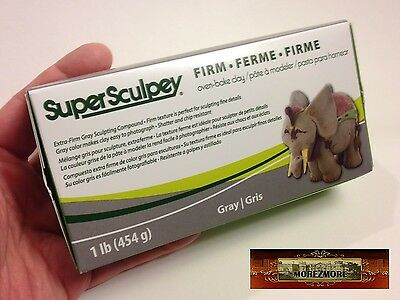 M00370 MOREZMORE Super Sculpey FIRM Sculpting Model Grey Polymer Clay 1 lb