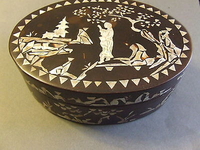 Vintage Black Laquer Oriental Abalone Inlaid Box