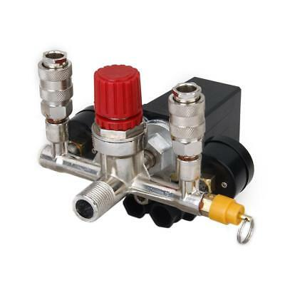 Air Compressor Pressure Switch Control Valve + Two Regulator Guages Kit