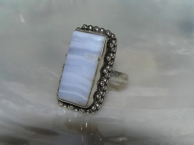 Estate Long Light Blue Lacey Agate Rectangle in Unmarked Silver Bead Frame Ring