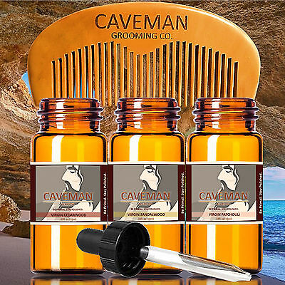 Hand Crafted Caveman® 3 Scents Virgin Beard Oil beard conditioner + FREE Comb