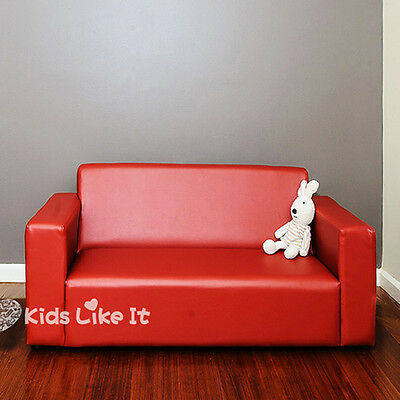 KIDS RED Timber PVC Leather 2 Seater SOFA Couch BEDROOM Childrens FURNITURE NEW