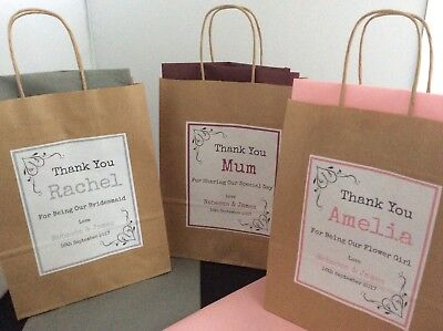 PERSONALISED BROWN KRAFT WEDDING GIFT BAG - with tissue paper
