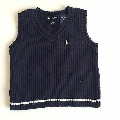 Ralph Lauren Baby Boys Navy Blue Sweater Vest, Sz 3-12m