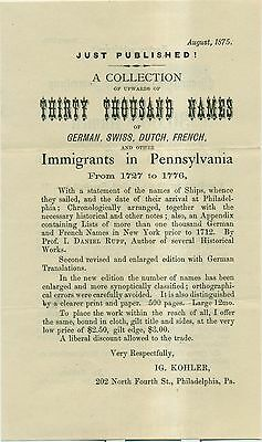 1875 Publishers Dual Language Flyer for Immigrants in PA Names Collection