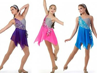 Momentous Lyrical Sequin Ice Skating Ballet Dress Tap Dance Costume Child/Adult