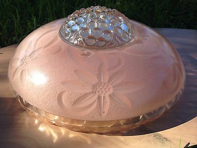 Gorgeous Vintage Pink & Clear Bubble Glass Slip Shade etched flower scalloped