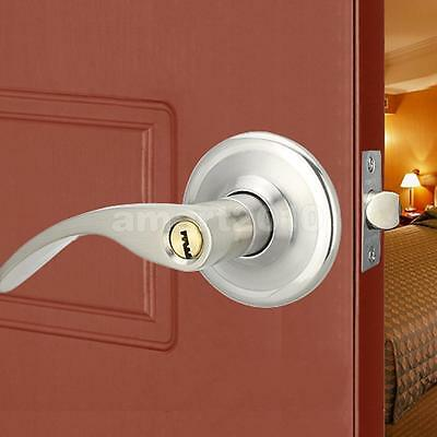 Room Door Panel Handles Front Back Lever Lock Cylinder Dual Latch with Keys