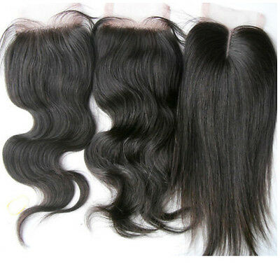 Unprocessed black 100% Brazilian virgin remy human hair 4x4'' lace top closure