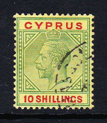 Cyprus 1921-23 10/- Green & Red Sg 100 Fine Used.