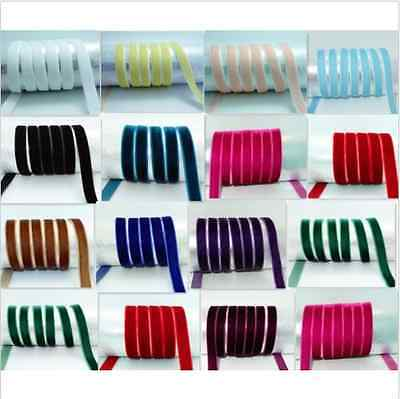 "NEW DIY 5,10 yards 3/8"" 10mm velvet ribbon U choose colours"