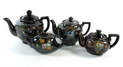 VINTAGE MORIAGE JAPANESE TEAPOTS lot of 4 Red Ware Clay Floral Brown Iridescent