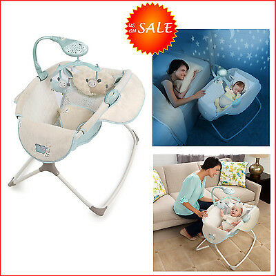 Lullaby Baby Crib Rocking Sleeper Bassinet Cradle Beds Bedding Nursery Furniture