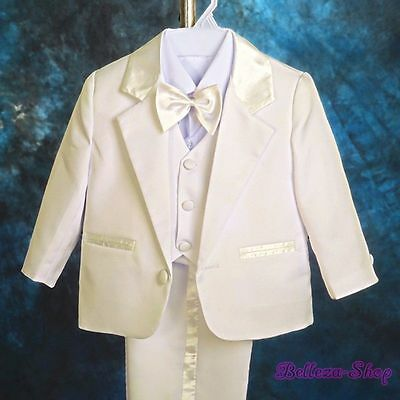 5pcs Set Ivory Formal Suits Wedding Christening Outfits Baby Boys Sz 18M ST022A