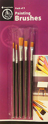 5pc Mixed Artists Painting Paint Brush brushes Acrylic Watercolour Oil Flat set