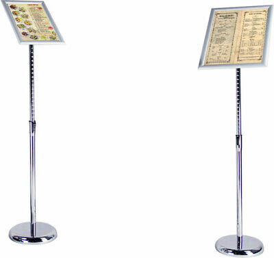 New Adjustable Height And Angle Menu Sign Shop Display Sign Poster Silver Stand