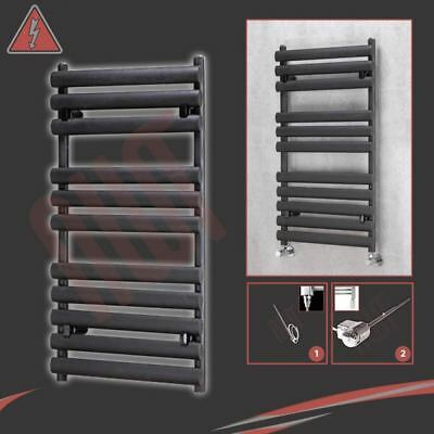"500mm(w) x 930mm(h) Pre-Filled Electric ""Brecon"" Black Towel Rail - 300W"