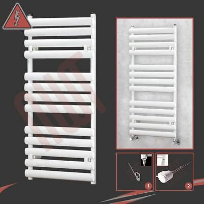 "500mm(w) x 1200mm(h) Pre-Filled Electric ""Brecon"" White Towel Rail - 400W / 600W"