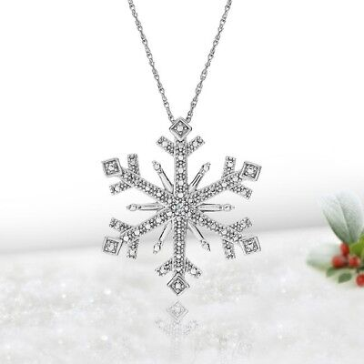 Natural Diamond Accented Snowflake Pendant in Sterling Silver with Chain