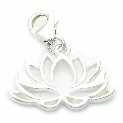 Lotus Flower sterling silver charm with clip .925 x 1 spiritual DKC53916--09LS