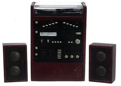 Stereo Unit with Speakers, Dolls House Miniatures, Hi-Fi 1,12 Scale Music Player