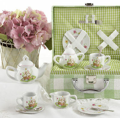 Delton Children's Porcelain Tea Set for 2 in Storage Case BUNNY