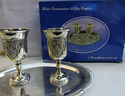 Messianic Christian Silver Plated Communion Set for Two Gift Boxed Grape design
