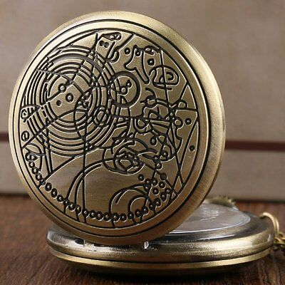 Retro Design Quartz Doctor Who Pocket Watch Long Chain Bronze/Silver Xmas Gift