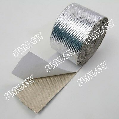 """2"""" x 15' Adhesive Backed Heat Shield Wrap Tape For Car Intake Intercooler Pipe"""