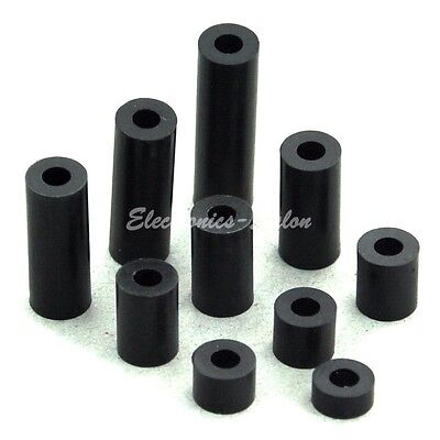Black Nylon/ABS Round Spacer, Not-Threaded, for M3 M4 Screw, L2mm ~ 30mm